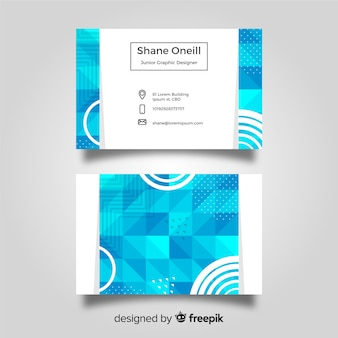 Abstract business card template with geometric shapes