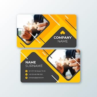 Abstract business card template with image collection