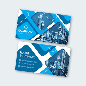Abstract business card template with image set