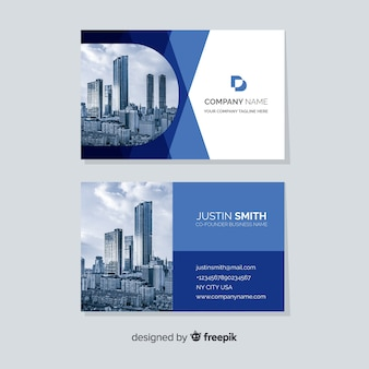 Abstract business card template with image