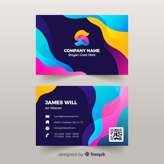 Abstract business card template with liquid effect