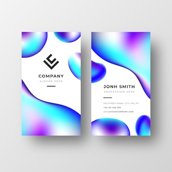 Abstract business card template with liquid shapes