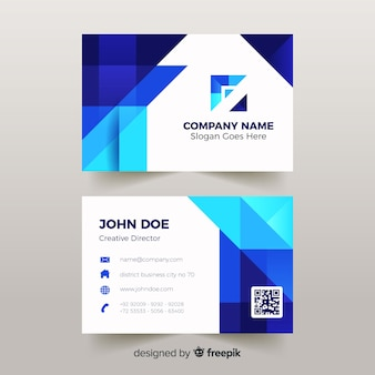 Abstract business card template with low poly effect