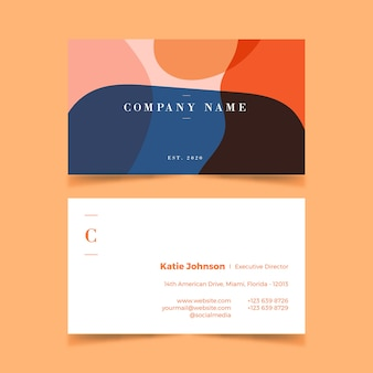 Abstract business card template with pastel-colored stains collection