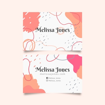 Abstract business card template with pastel-colored stains concept
