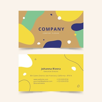Abstract business card template with pastel-colored stains set
