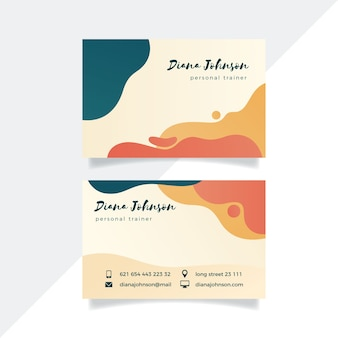 Abstract business card template with pastel colored stains