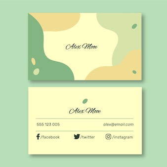 Abstract business card template with pastel-colored stains