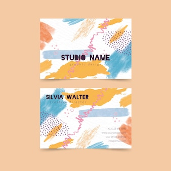 Abstract business card template with pastel colors
