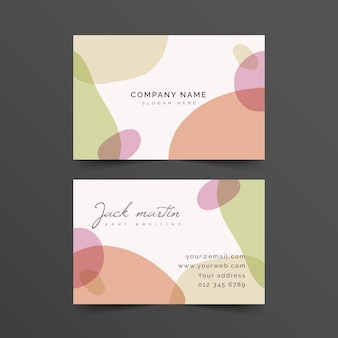 Abstract business card template with pastel-coloured stains
