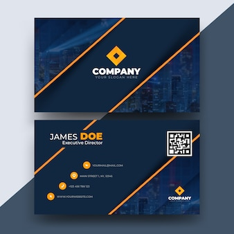 Abstract business card template with photo of city
