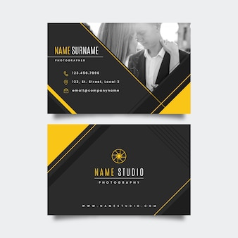 Abstract business card template with photo collection