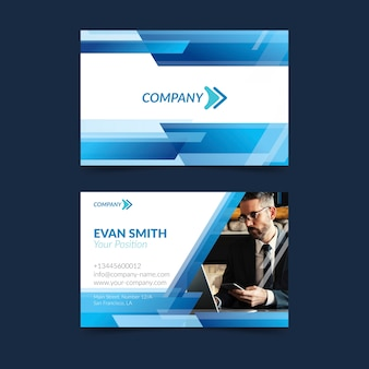 Abstract business card template with photo design