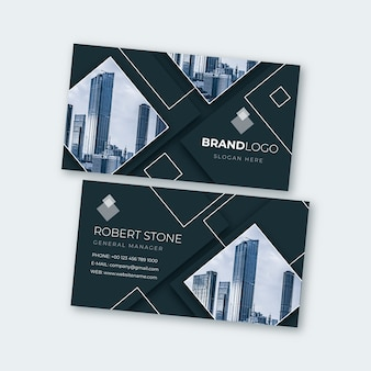 Abstract business card template with photo pack