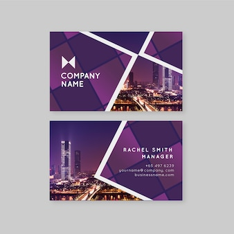 Abstract business card template with photo set
