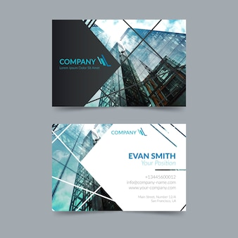 Abstract business card template with photo theme