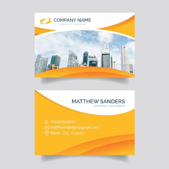 Abstract business card template with picture of city