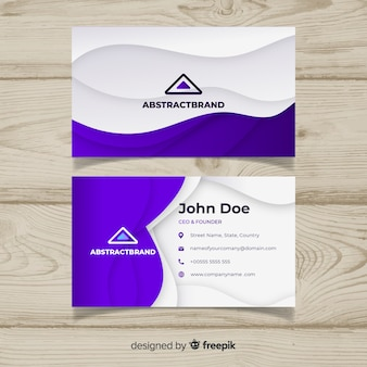 Abstract business card template with purple colors