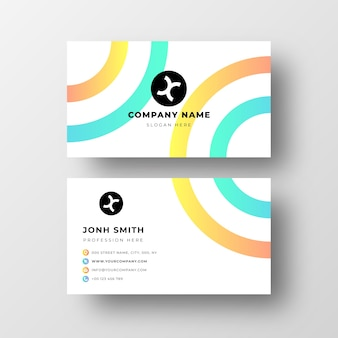 Abstract business card template with rounded shapes
