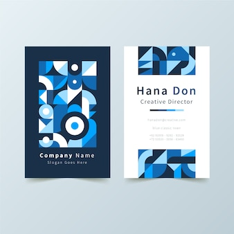 Abstract business card with blue shapes template