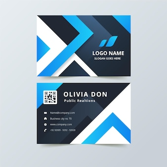 Abstract business card with blue shapes