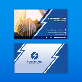 Abstract business card with city photo