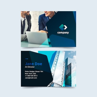 Abstract business card with different shapes and photo