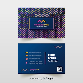 Abstract business card with geometric models template