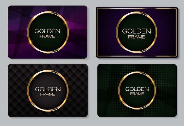 Abstract business card with golden frame collection set