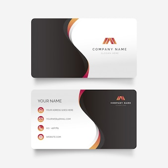 Abstract business card with gradient waves
