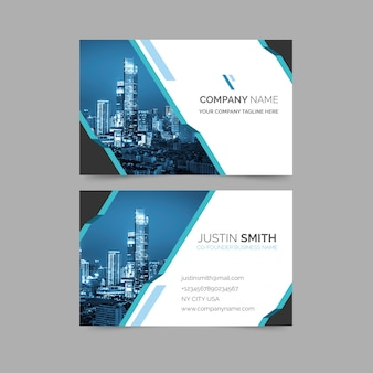 Abstract business card with minimalist shapes and photo template