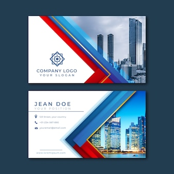 Abstract business card with minimalist shapes and picture template