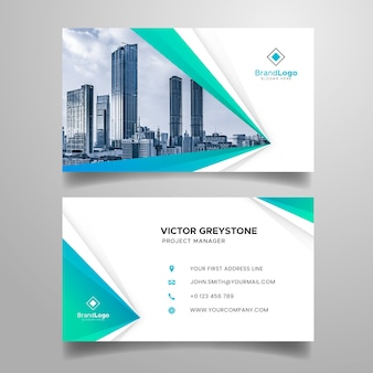 Abstract business card with modern shapes and photo
