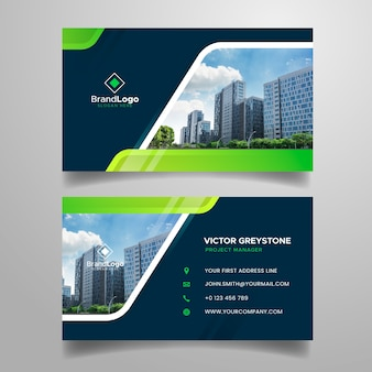 Abstract business card with modern shapes and picture