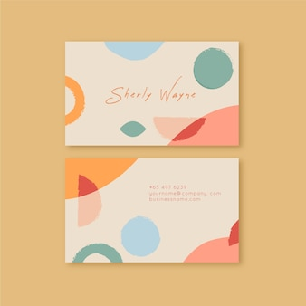 Abstract business card with pastel-colored stains template collection