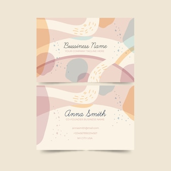 Abstract business card with pastel-colored stains template pack