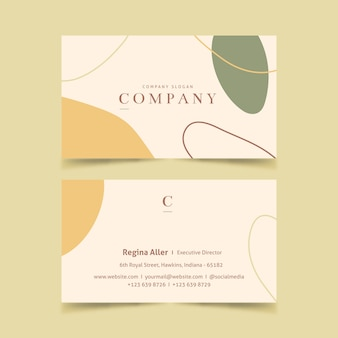 Abstract business card with pastel-colored stains template set