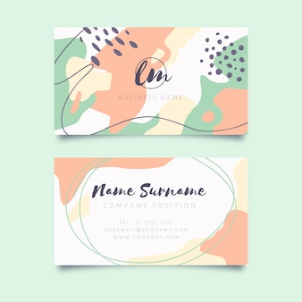 Abstract business card with pastel-colored stains