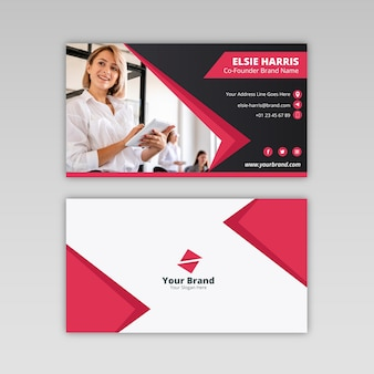 Abstract business card with photo of blonde woman