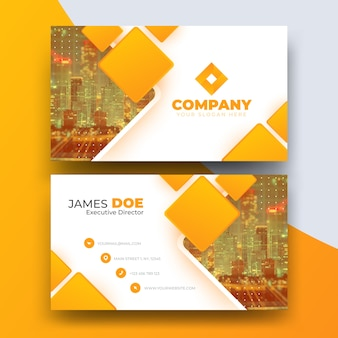 Abstract business card with photo of city