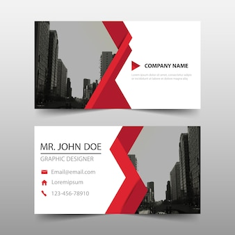 Abstract business card with red detail
