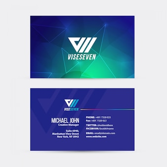 Abstract business card with turquoise and purple accent