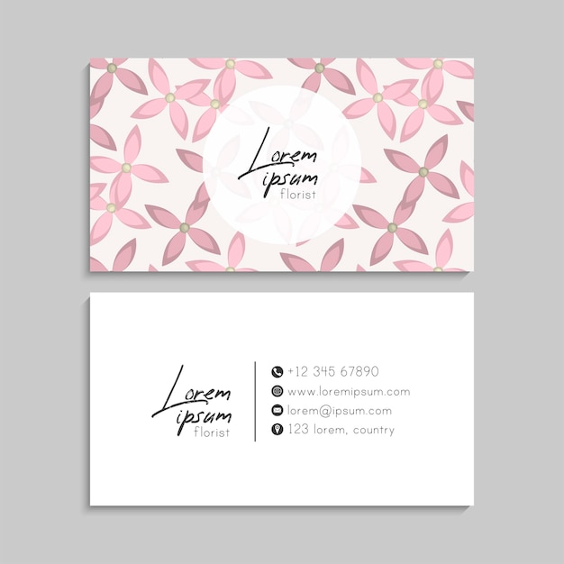 Abstract business cards template with blue flowers