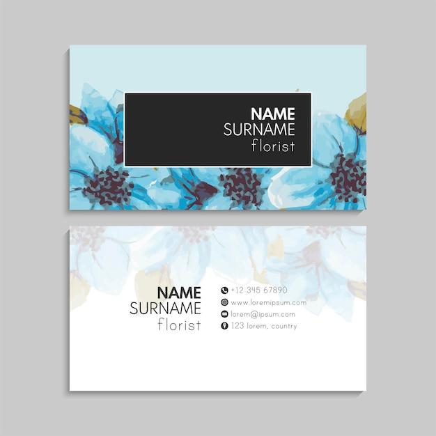 青い花を持つ抽象的な名刺テンプレート