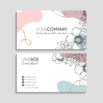 Abstract business cards template with flowers sketch