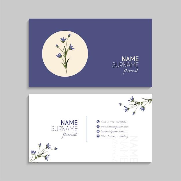 花と抽象的な名刺テンプレート