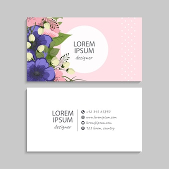 Abstract business cards template with flowers