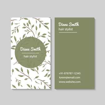 Abstract business cards template with leaves