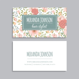 Abstract business cards template with pink flowers