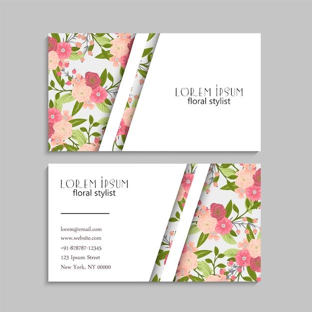 ピンクの花を持つ抽象的な名刺テンプレート
